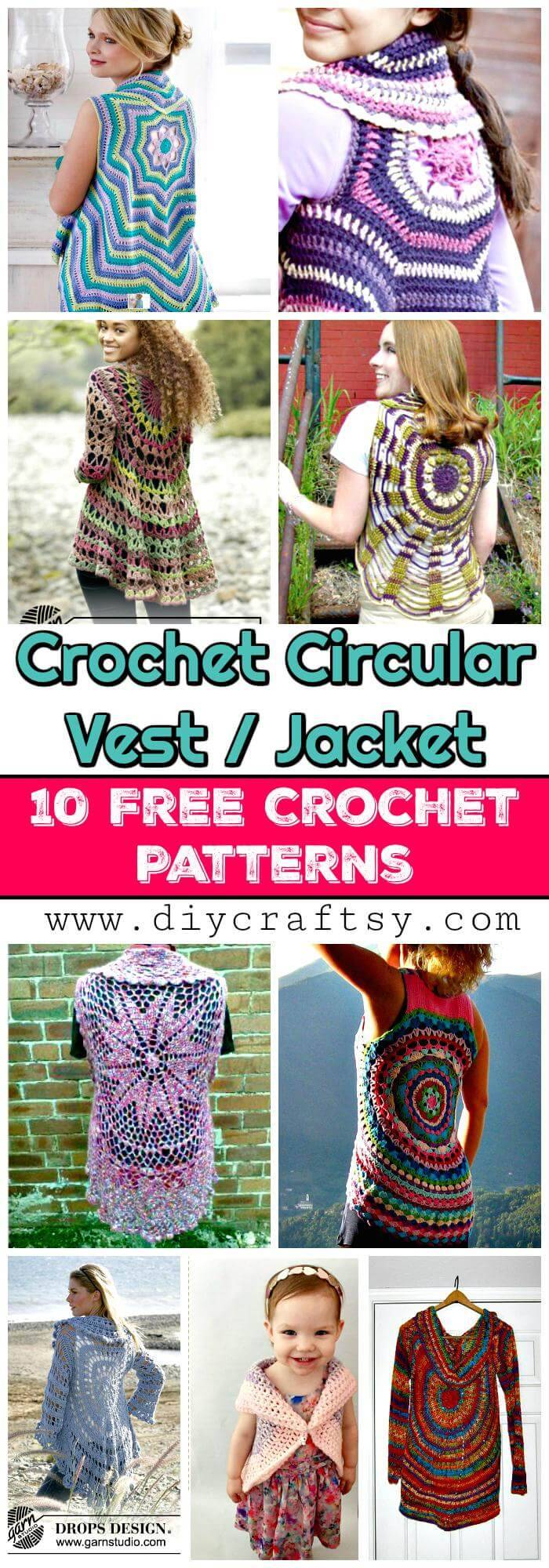 Crochet Circular Vest / Jacket - 10 FREE Crochet Patterns