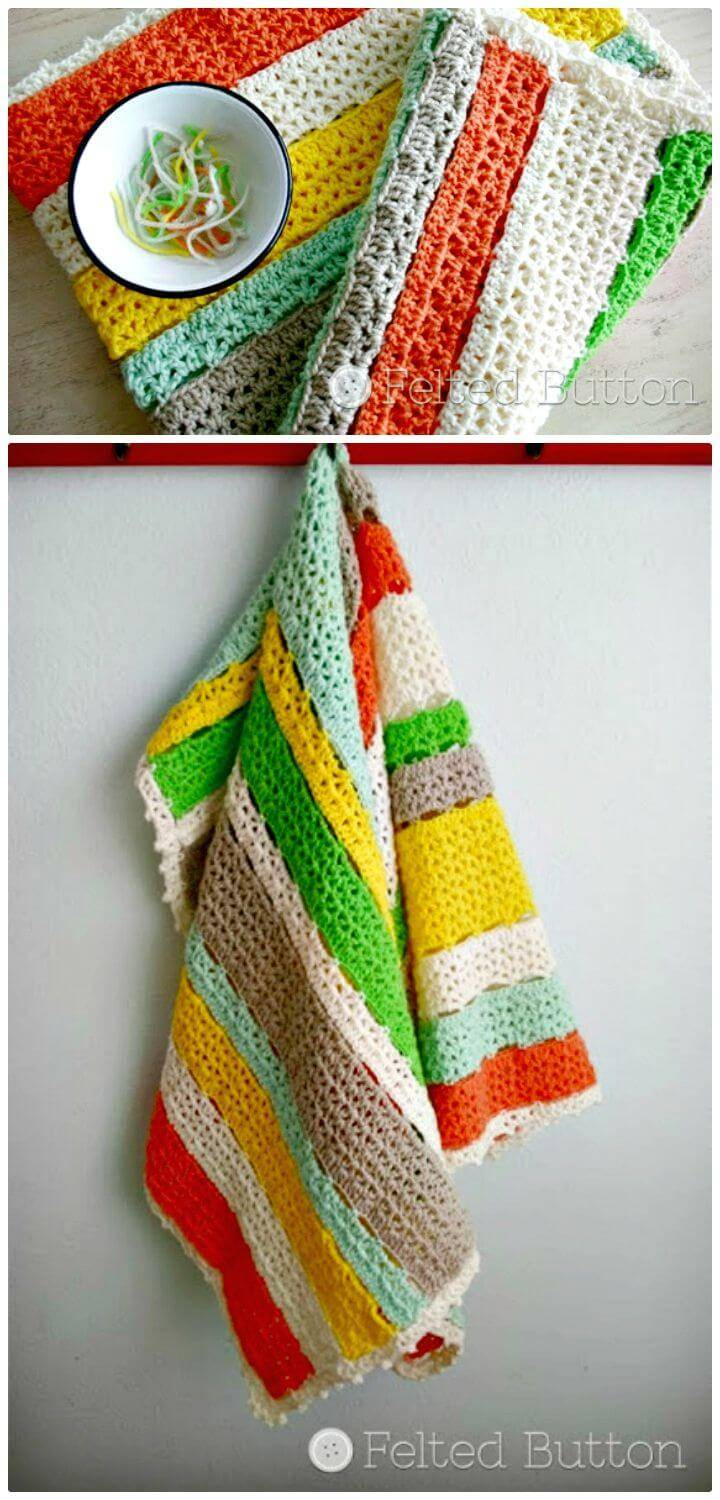 Crochet Citrus Stripe Blanket - Free Pattern