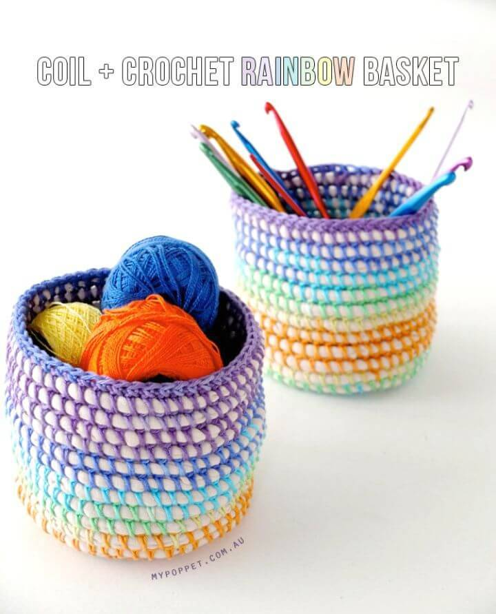 How To Free Crochet Coil+Rainbow Basket Pattern