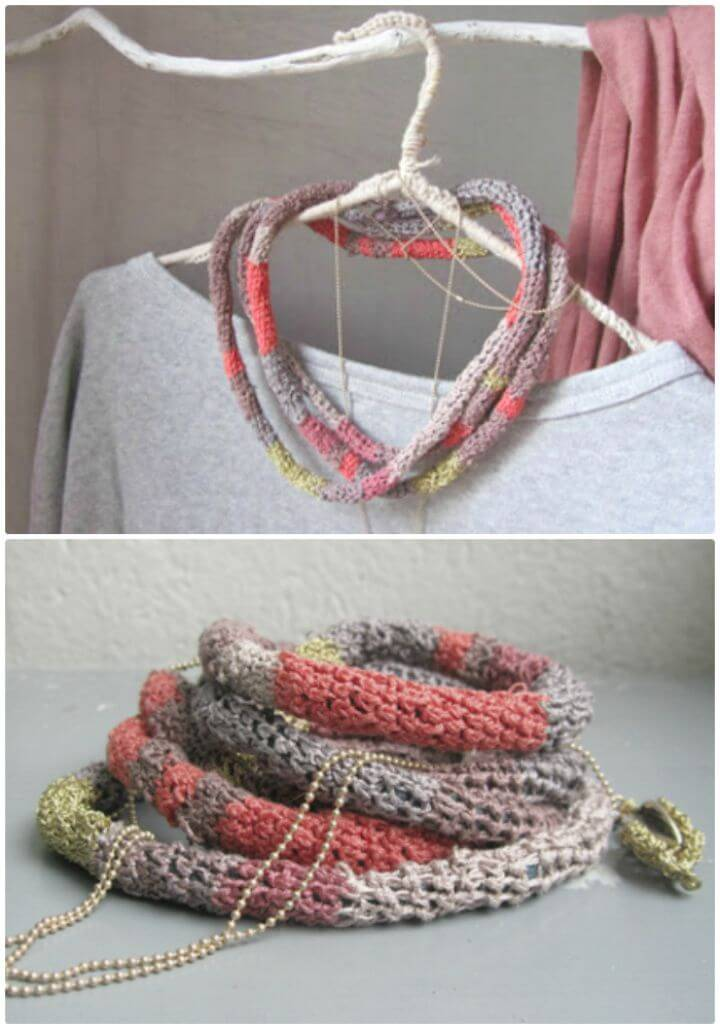 Crochet Striped String Necklace - Free Pattern