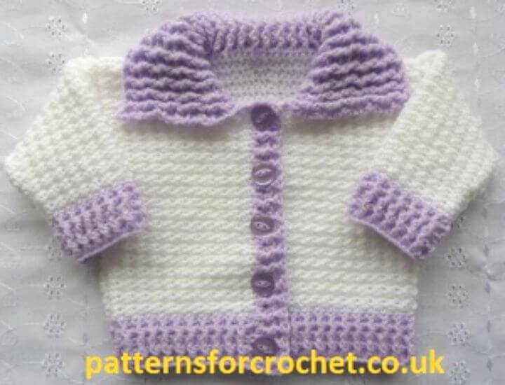 How To Easy Crochet Collared Baby Cardigan - Free Pattern