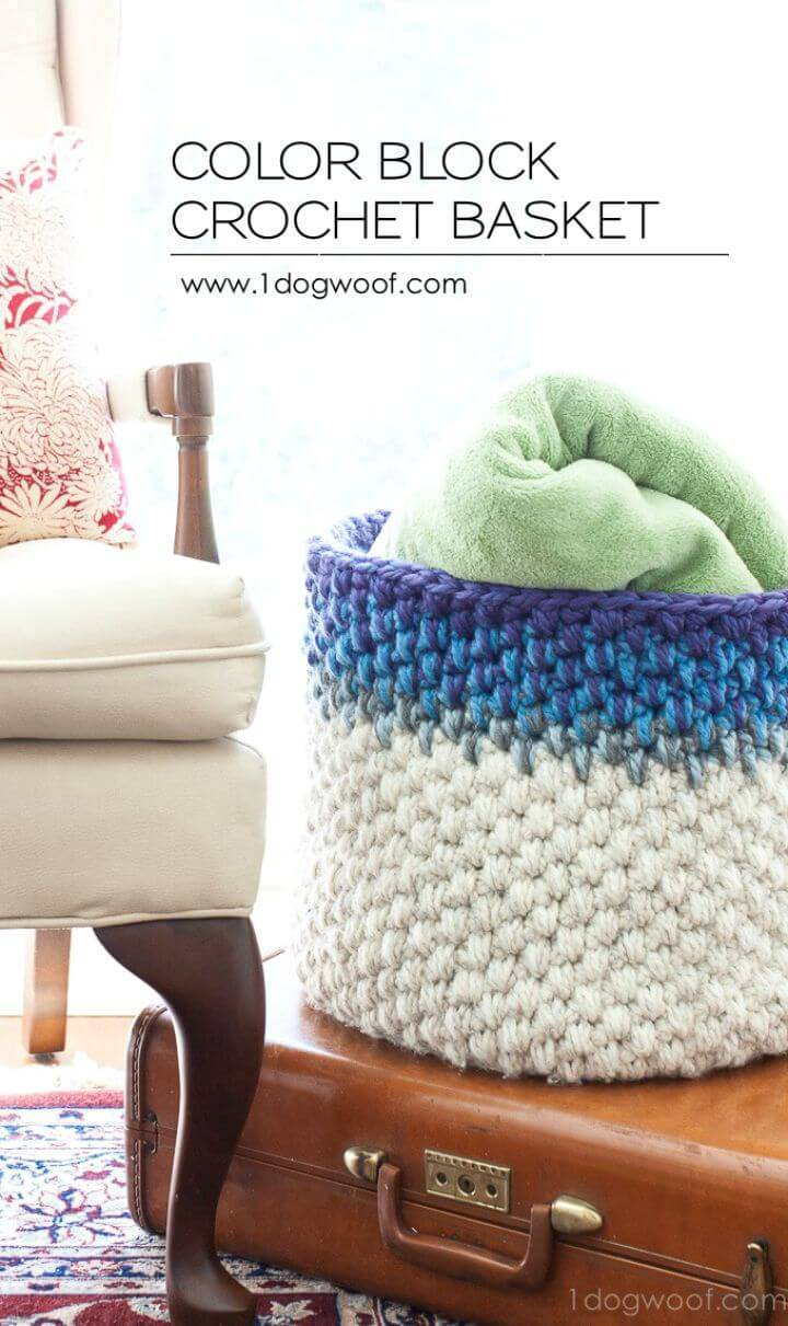 Easy Crochet Color Block Basket - Free Pattern