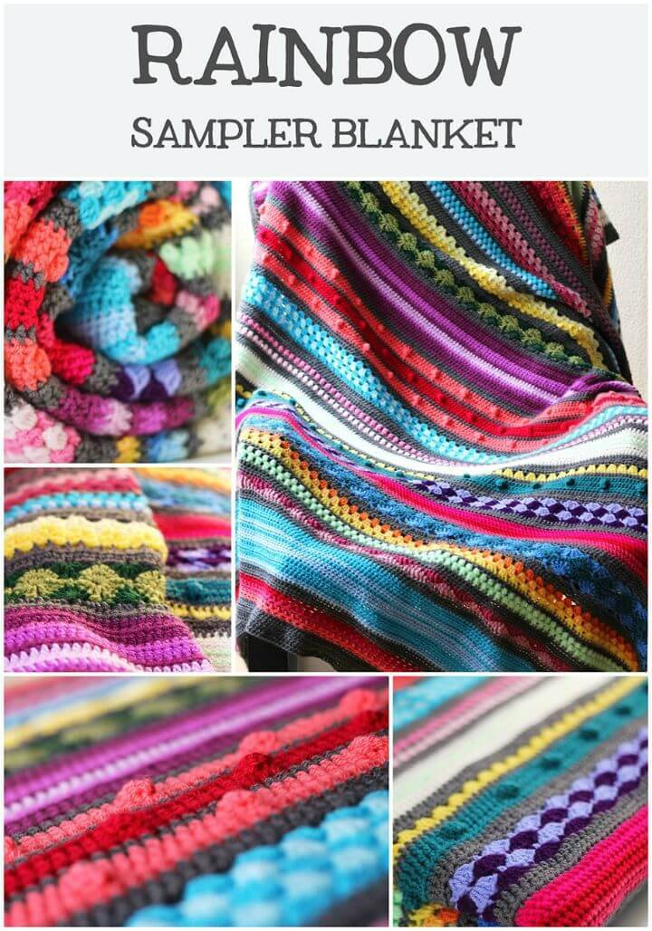 Easy Crochet Colorful Rainbow Sampler Blanket - Free Pattern