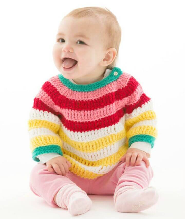 Free Crochet Colorful Striped Pullover Pattern
