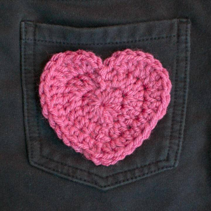 Free Crochet Cute Heart Applique Pattern