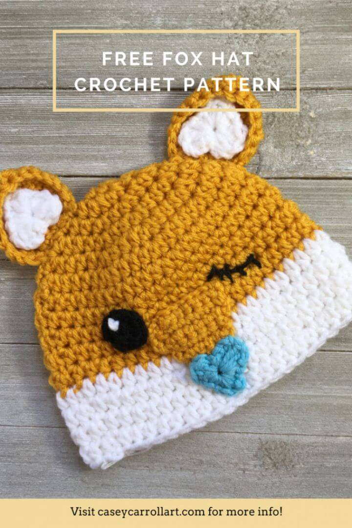 Crochet Cutesy Fox Hat - Free Pattern