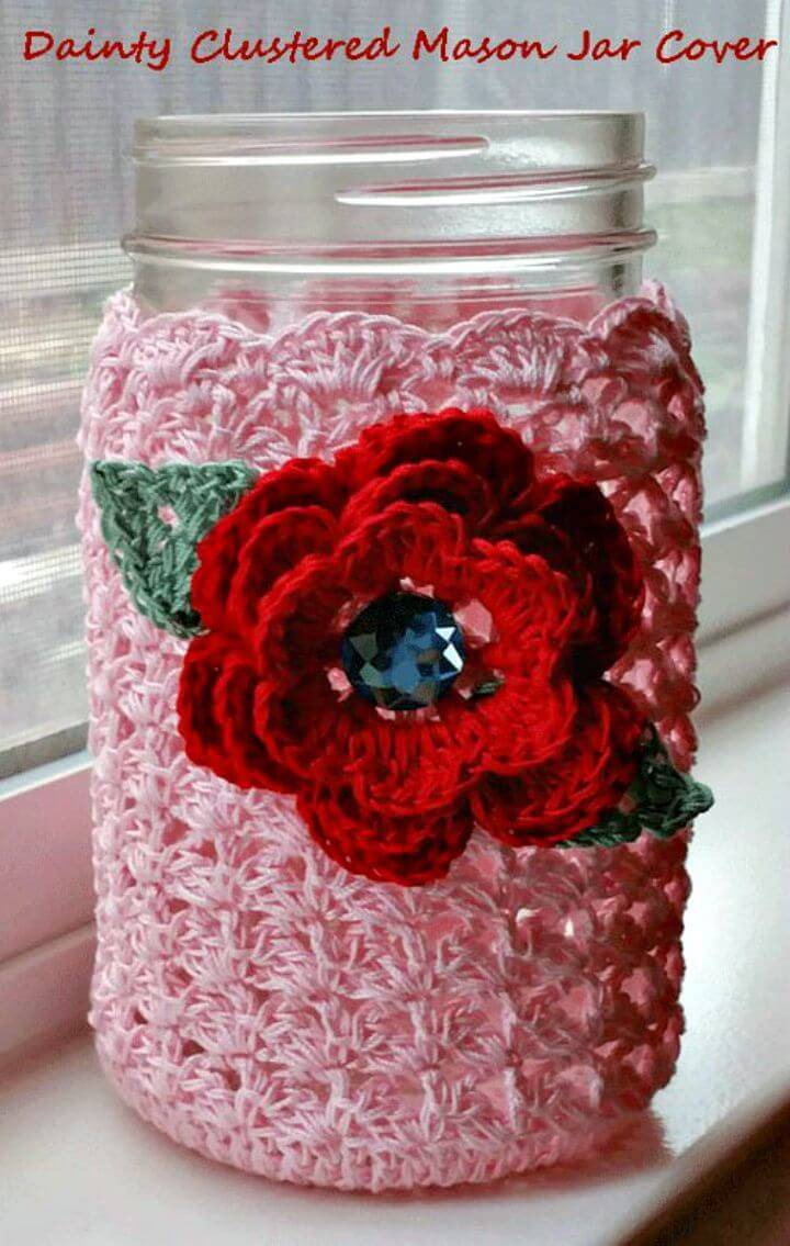 How to Crochet Dainty Clustered Mason Jar Cover - Free Pattern