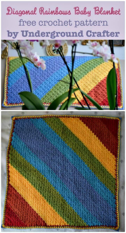 How To Free Crochet Diagonal Rainbows Baby Blanket Pattern