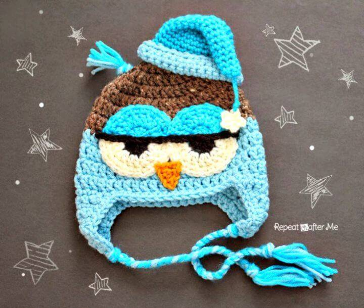 Easy Free Crochet Drowsy Owl Hat Pattern