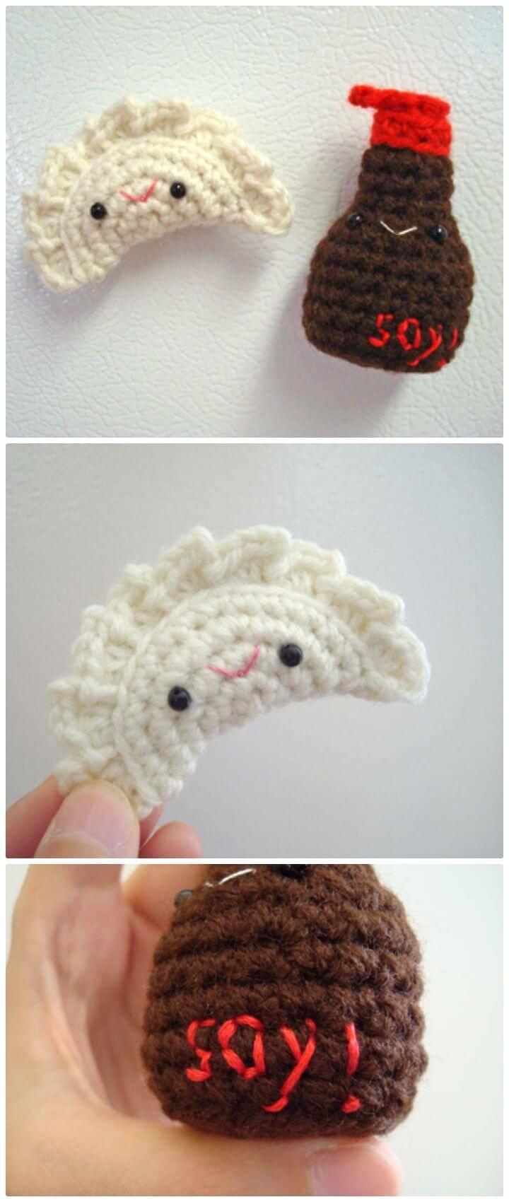 Free Crochet Dumpling + Soy Sauce Amigurumi Pattern
