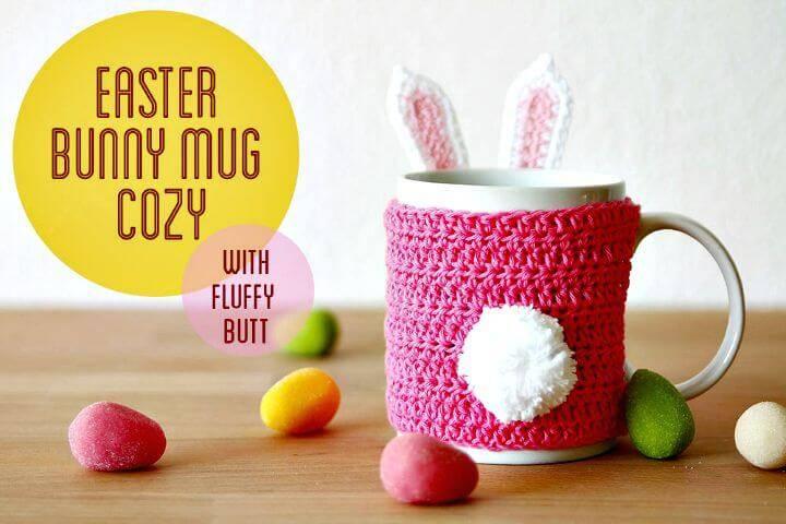 Crochet Easter Bunny Mug Cozy - Free Pattern