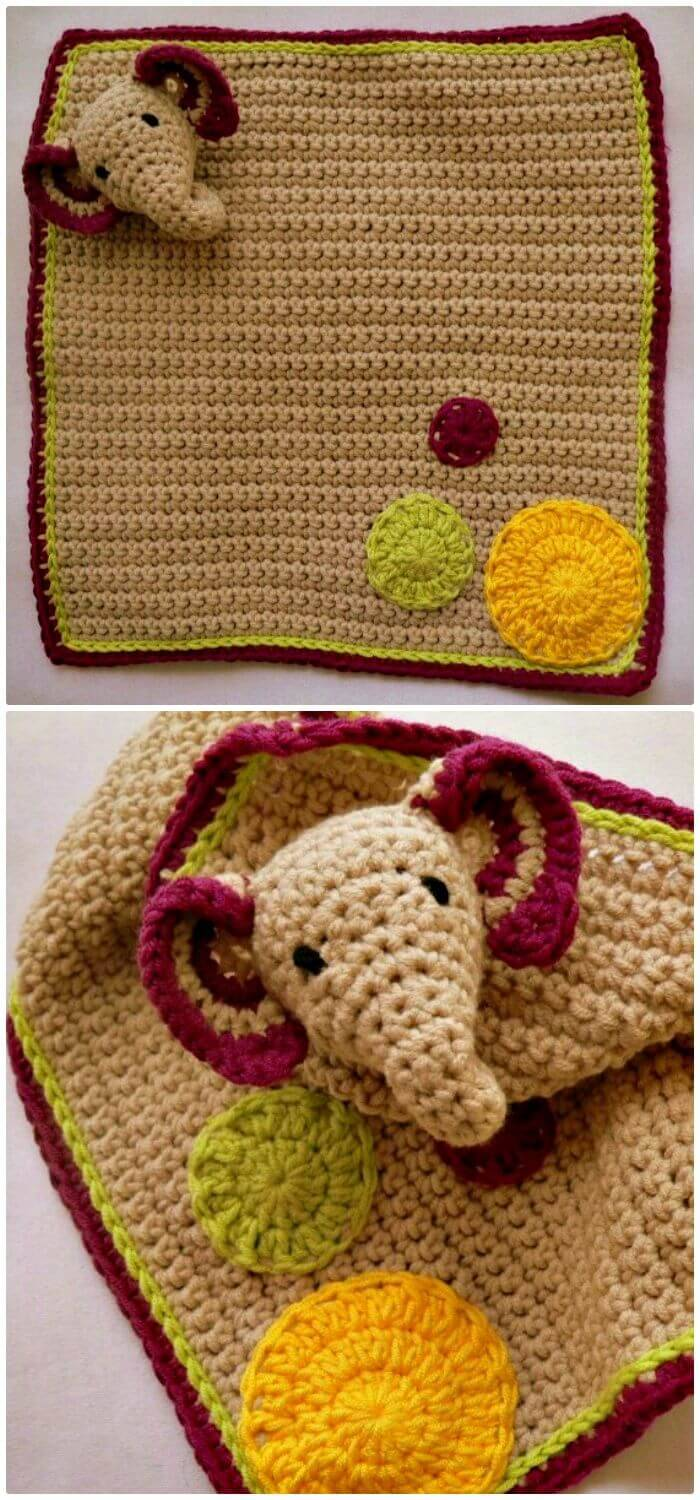 Easy Free Crochet Elephant Lovie Pattern
