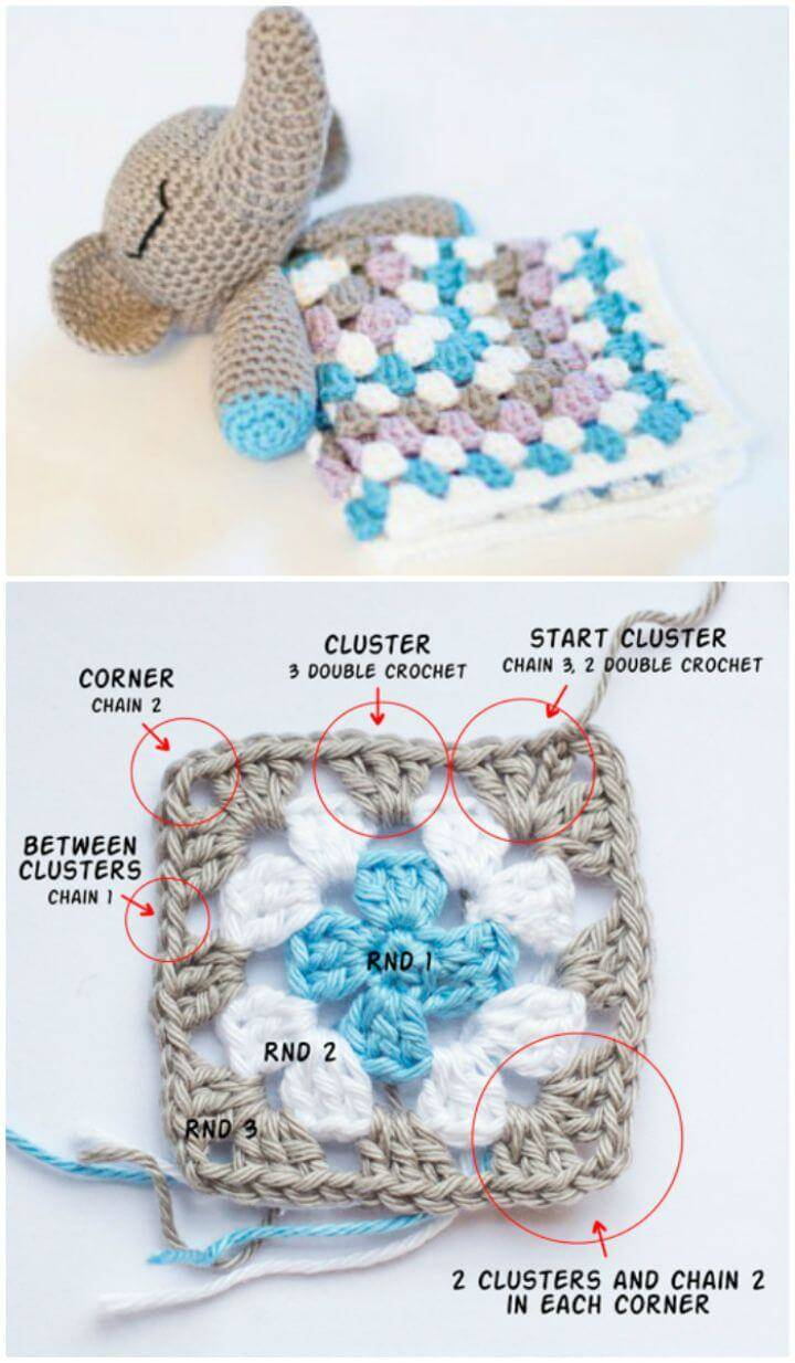 How To Crochet Elephant Snuggle Lovey - Free Pattern