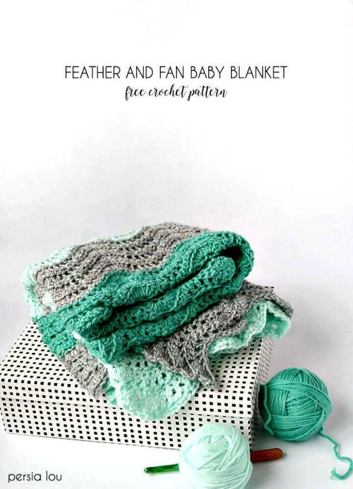 Feder und Fan häkeln Decke - kostenlose Muster