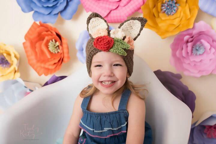 Free Crochet Floral Bunny Headband