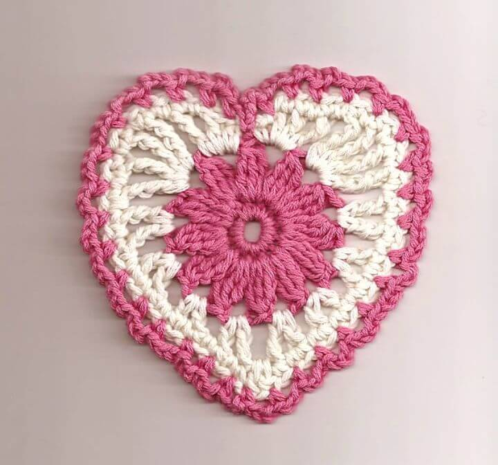 Simple Crochet Floral Heart Motif - Free Valentine Pattern