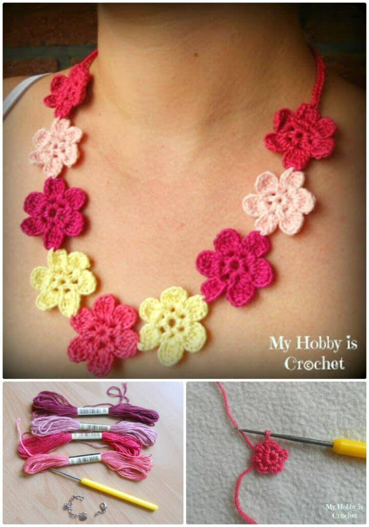 Free Crochet Flower Necklace Hawaiian Dream Pattern With Tutorial