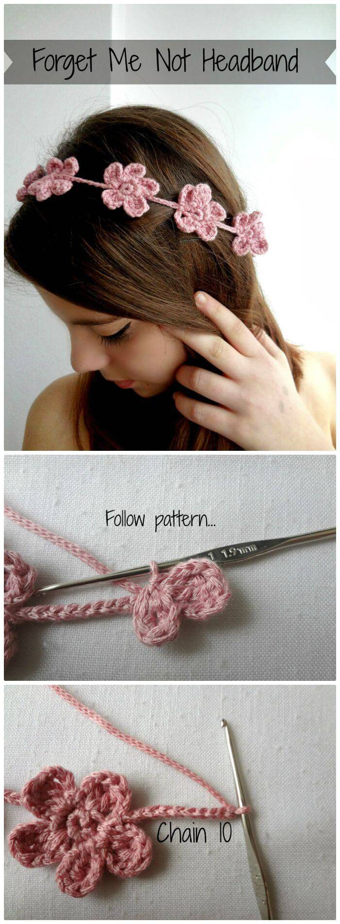 Crochet Forget Me Not Headband - Free Tutorial