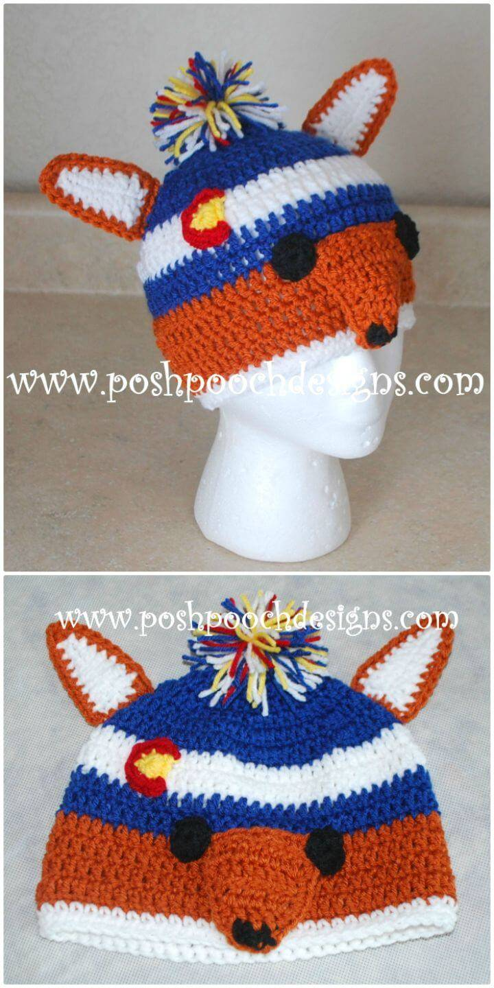 Crochet Fox Colorado Beanie Hat Pattern
