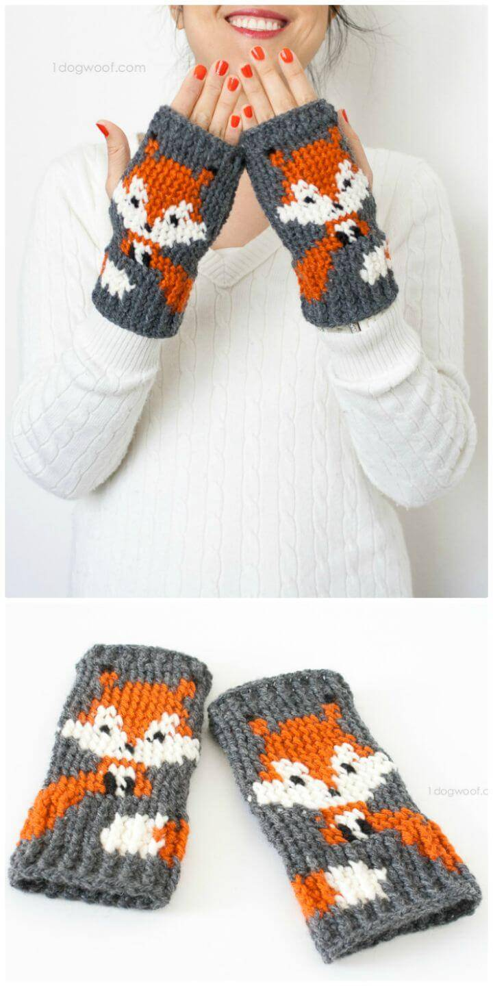 Free Crochet Fox Finger-less Gloves Pattern