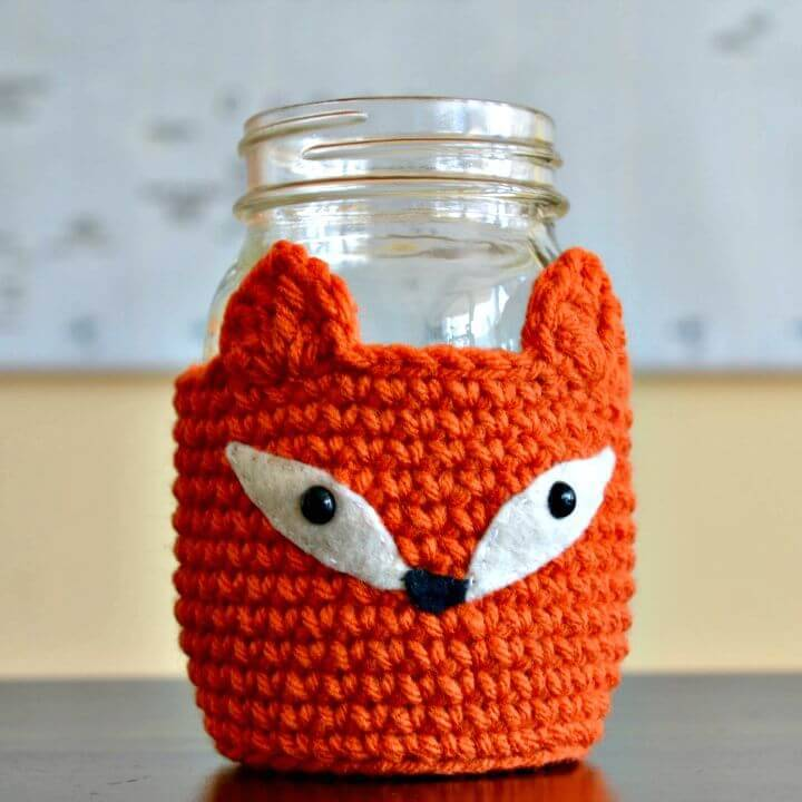 How To Crochet Fox Mason Jar Cosy - Free Pattern