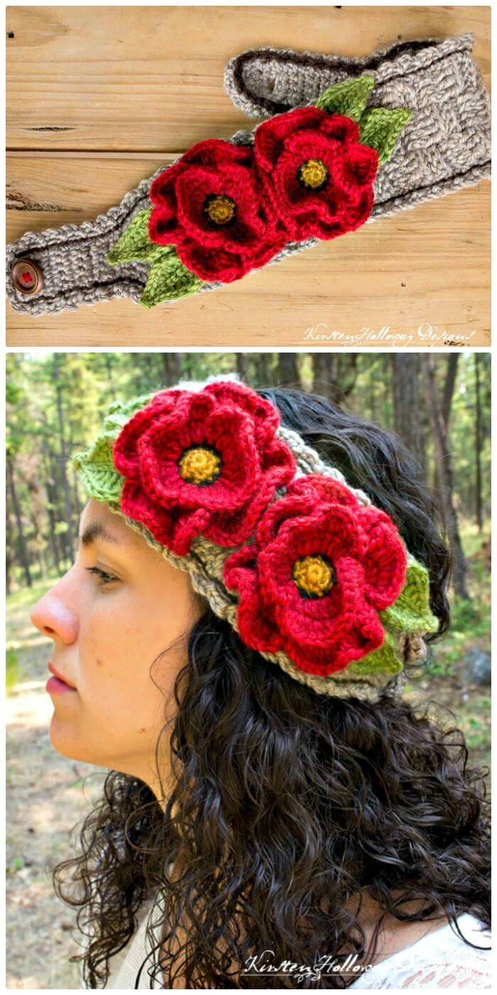 Free Crochet Full Of Poppies Headband Pattern