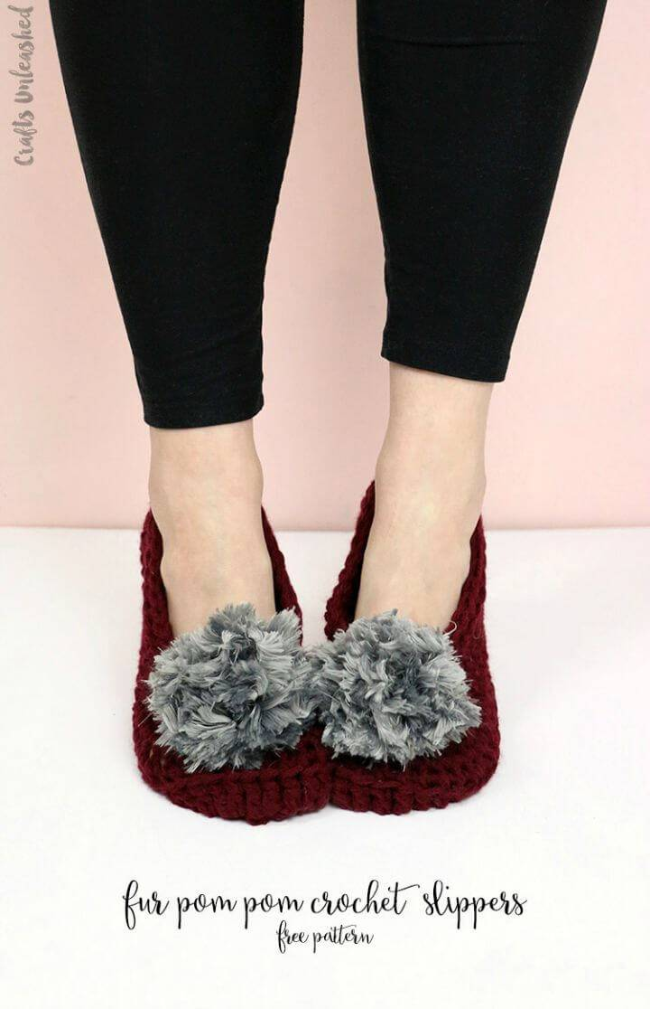 Easy Free Crochet Fur Pom Pom Slippers Pattern