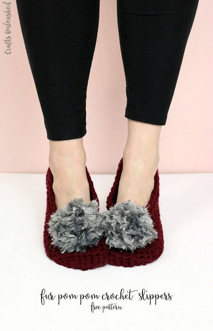 Easy Free Crochet Fur Pom Pom Slippers Pattern