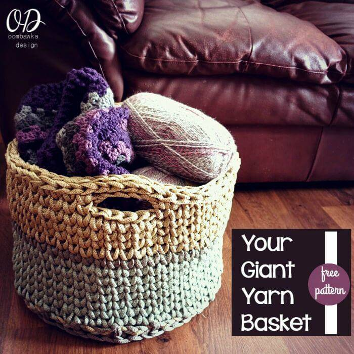 Free Crochet Giant Yarn Basket Pattern