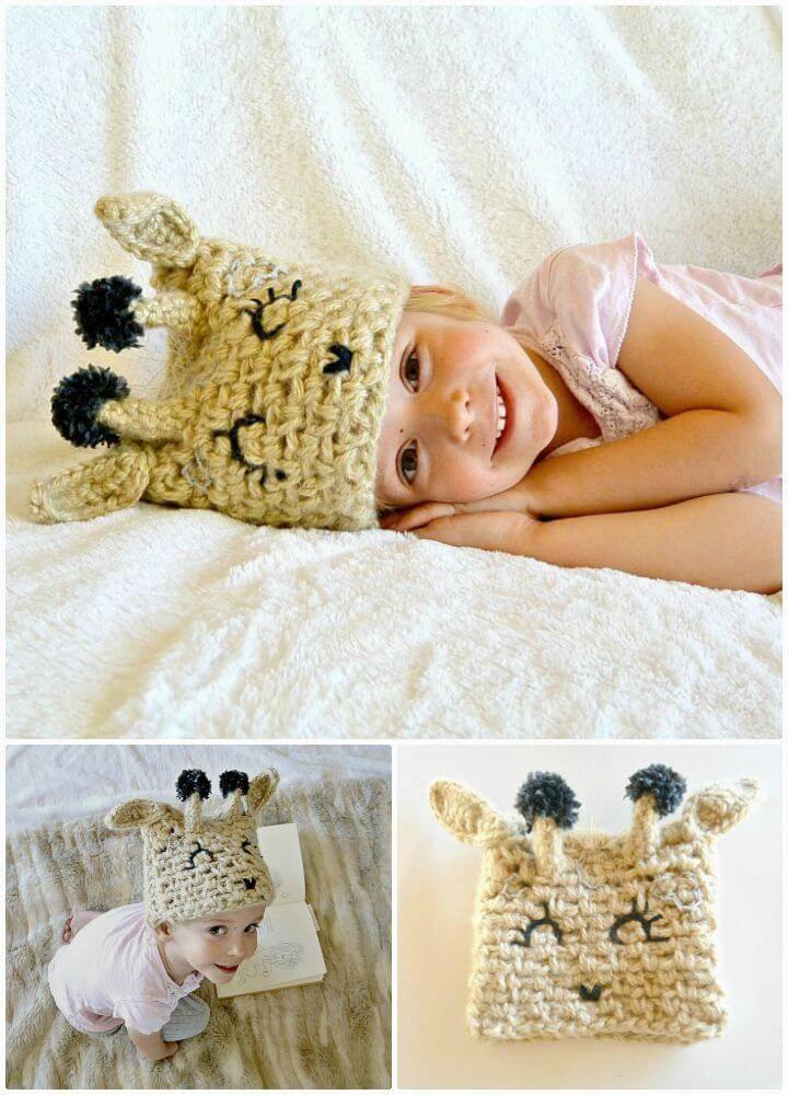 Crochet Giraffe Baby Hat - Free Pattern