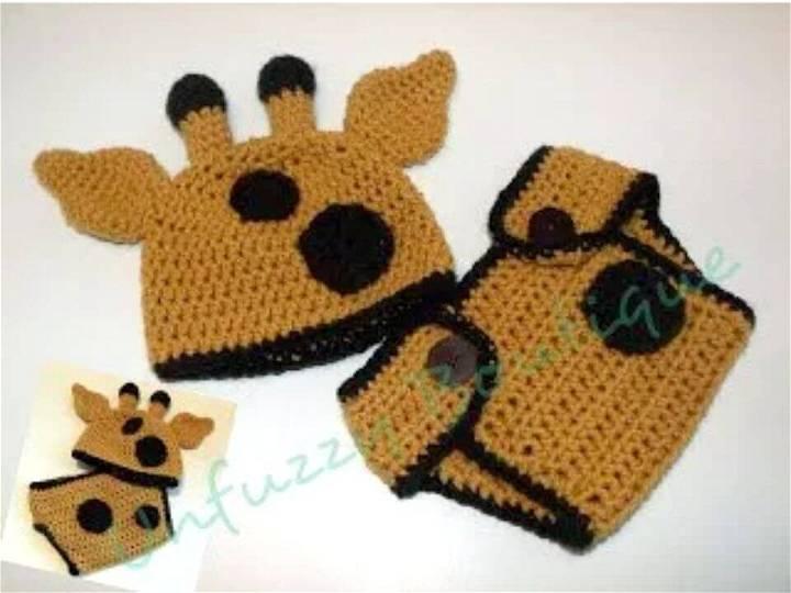 Free Crochet Giraffe Hat And Diaper Cover Set