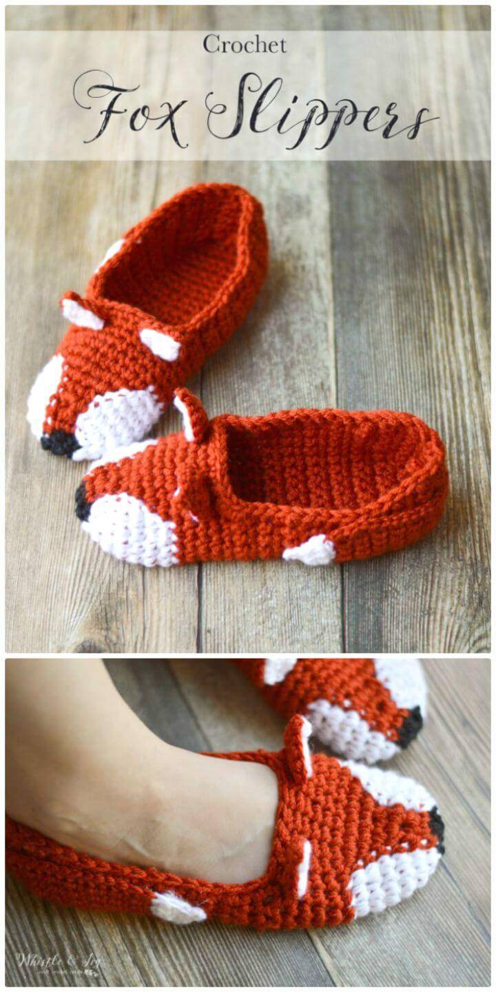 Free Crochet Fashionable Fox Slippers Pattern