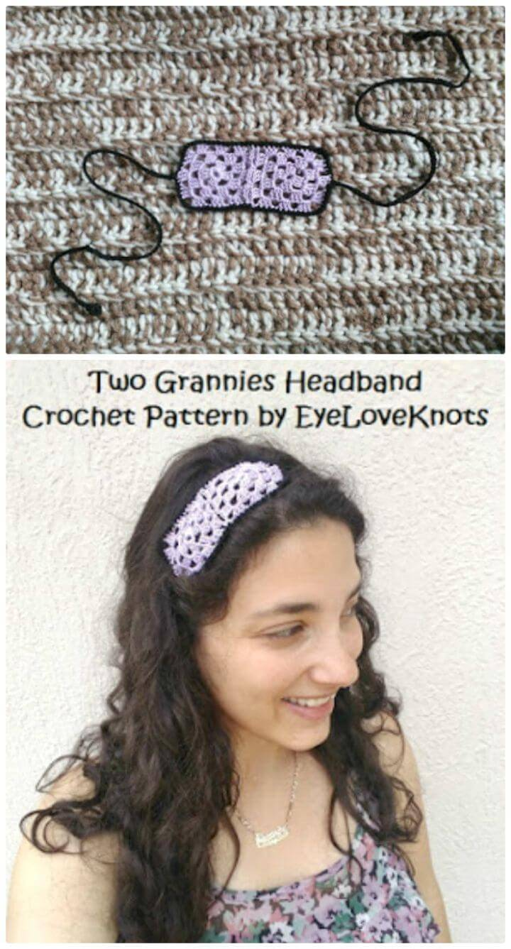 Simple Crochet Grannies Headband - Free Pattern