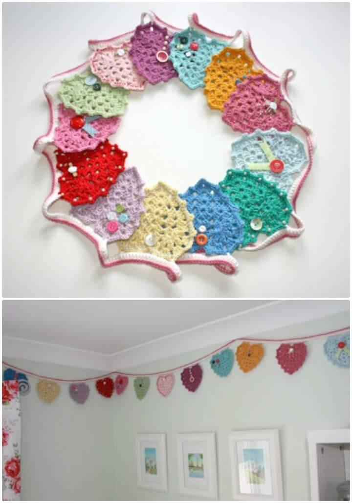Free Crochet Granny Heart Bunting Pattern
