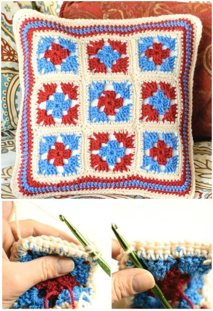 How To Crochet Granny Pillow - Free Patterns