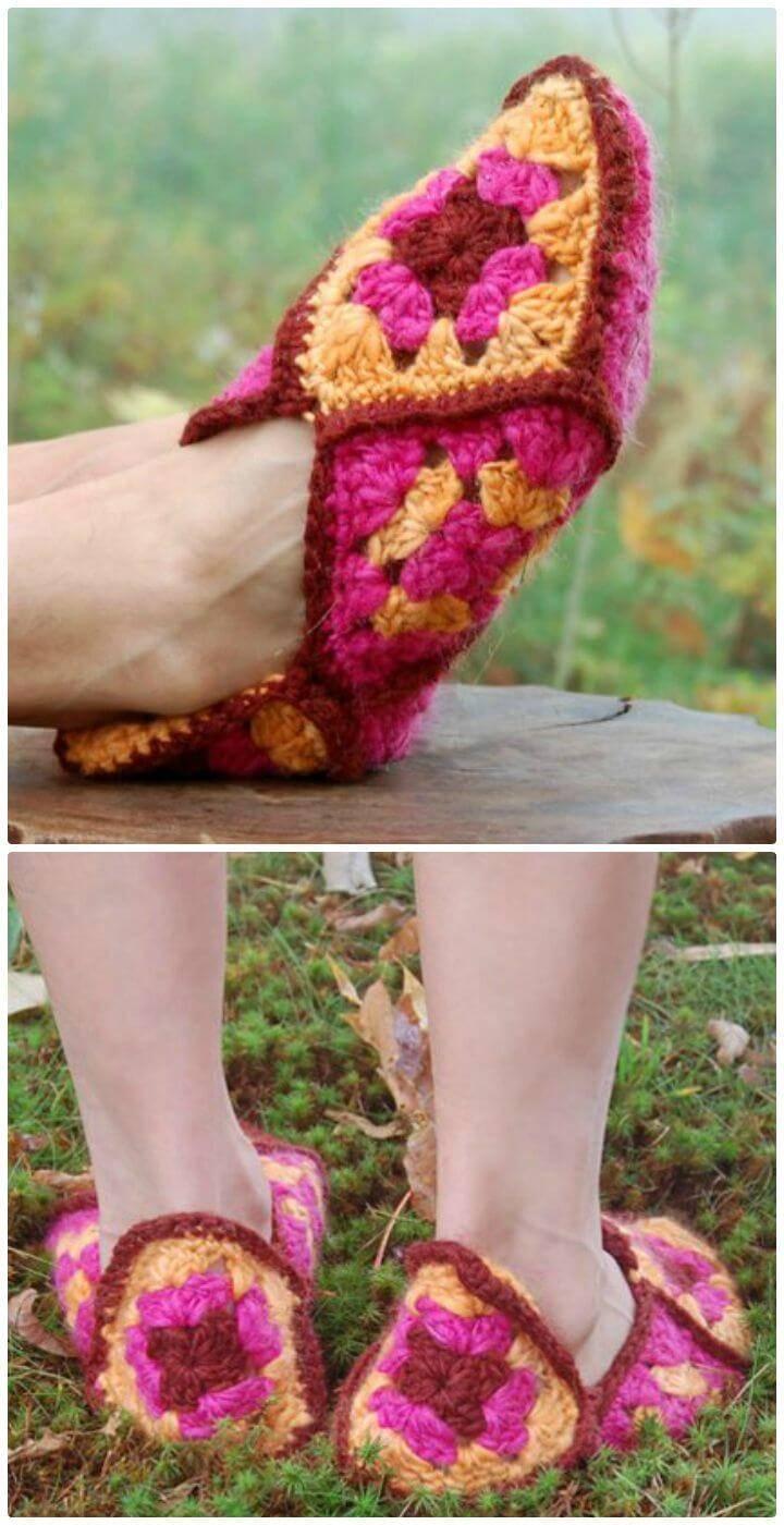 Crochet Granny Square Slippers - Free Pattern