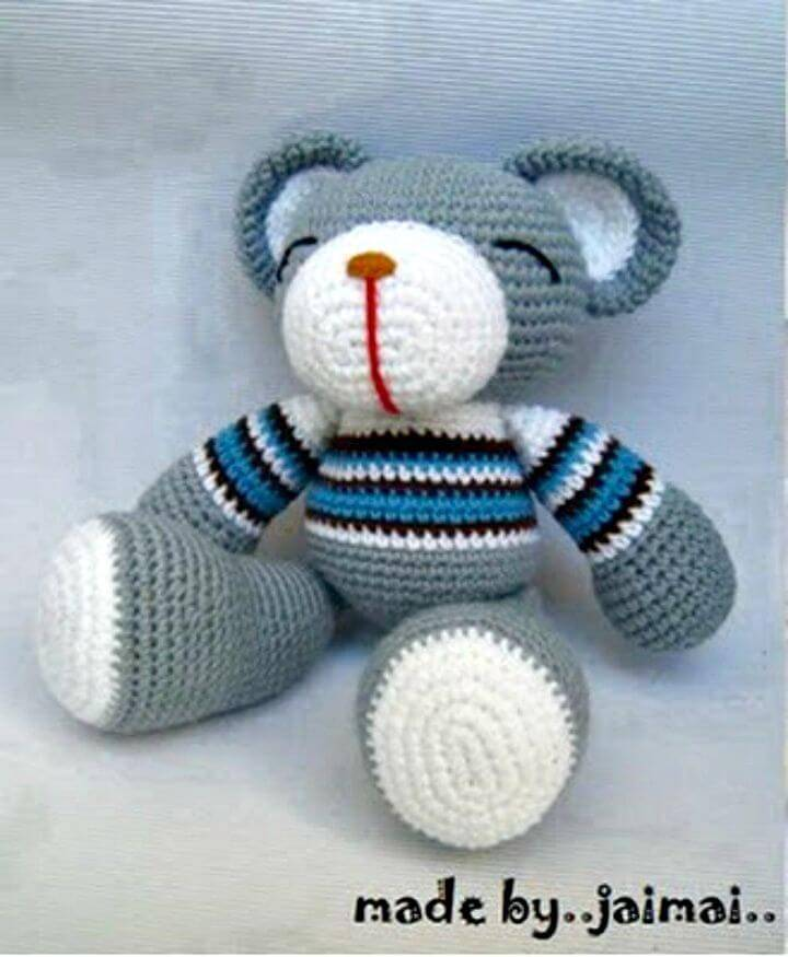 Free Crochet Grey Teddy Bear - Free Pattern