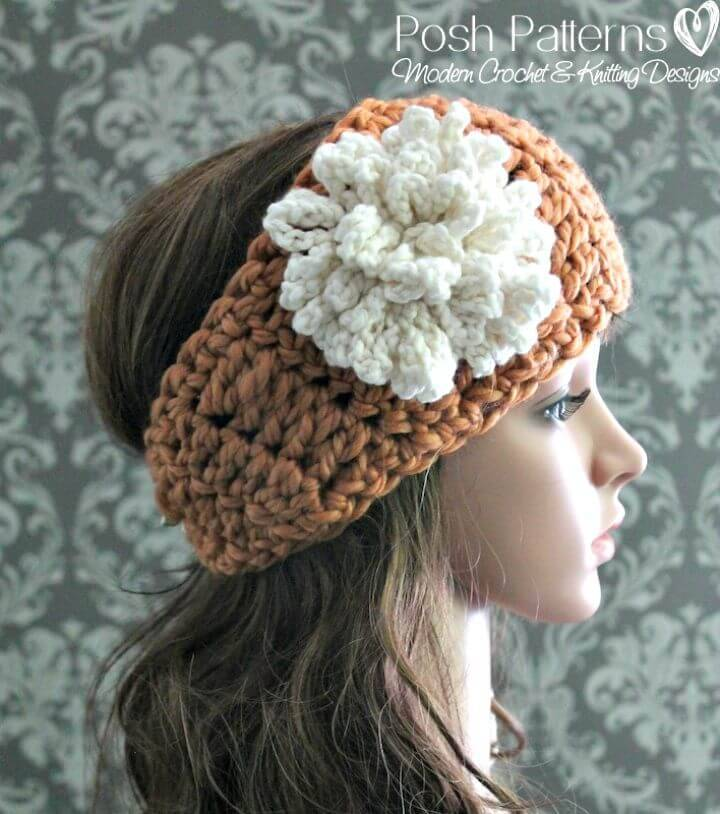 Easy Free Crochet Headband & Loopy Flower Pattern