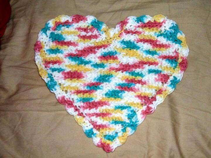 Free Crochet Heart Dishcloth Pattern