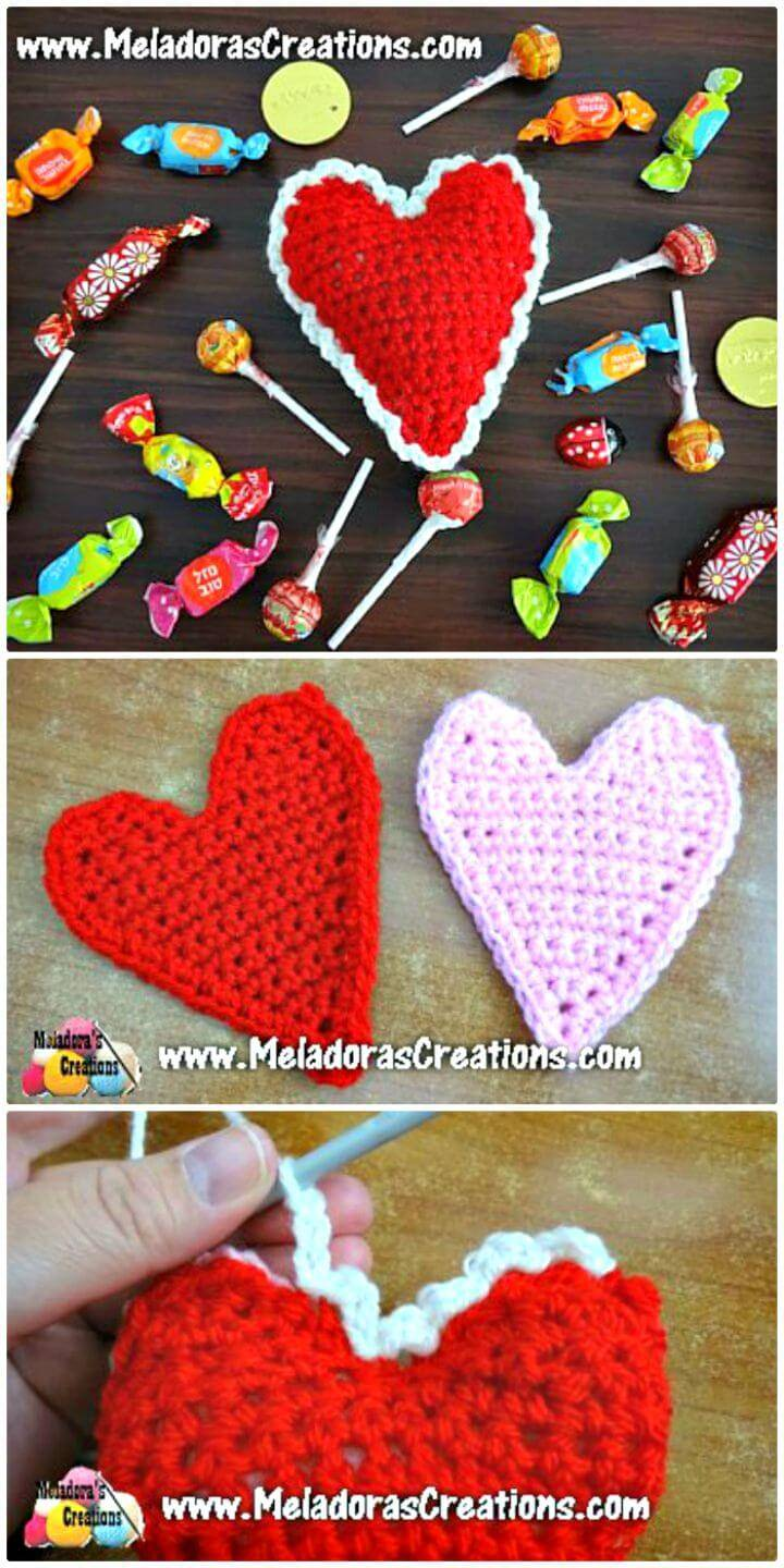 Crochet Heart Motif Applique - Free Valentine Day Pattern