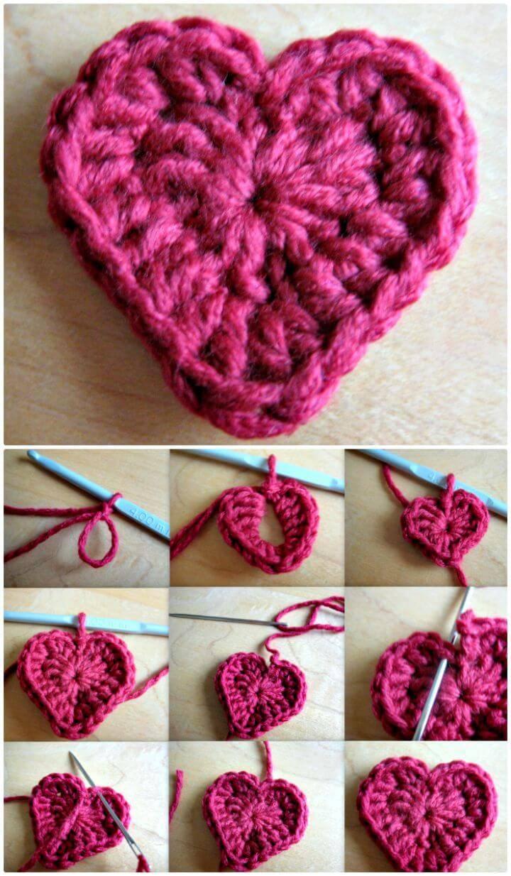 Free Crochet Valentine Heart Motif Pattern