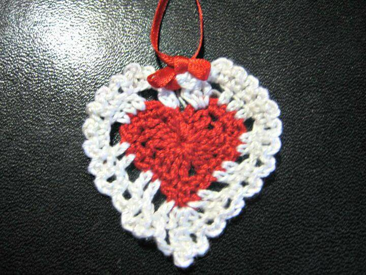 How To Crochet Heart Ornament -Valentine's Day Free Pattern