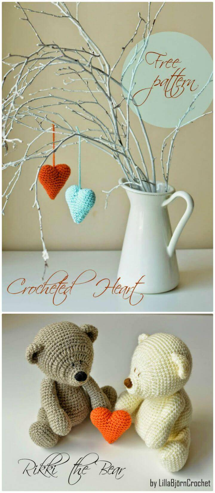 Easy Crochet Heart Pattern And Rikki Bear - Free Valentine Day Pattern