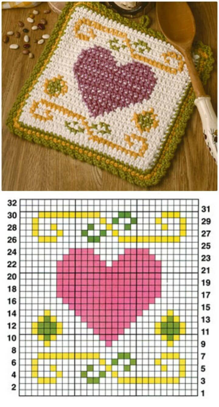 Easy Free Crochet Heart Pot Holder Pattern