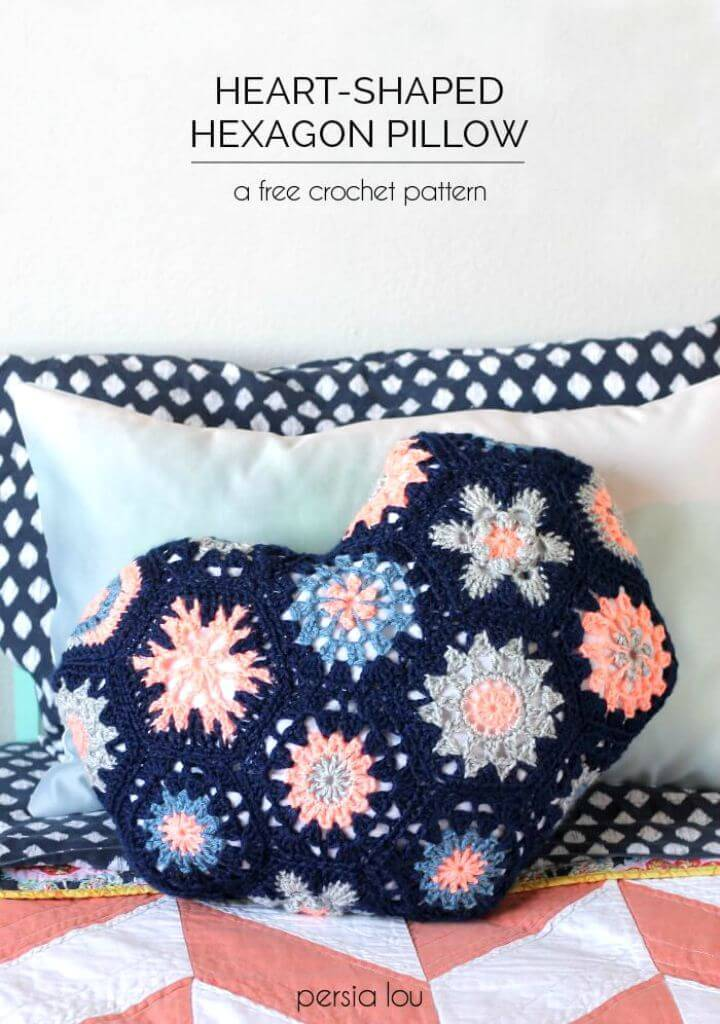 Easy Free Crochet Heart-Shaped Hexagon Pillow Pattern