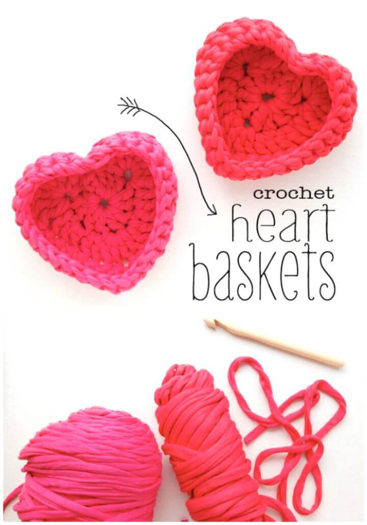 Crochet Heart Shaped Storage Baskets - Free Valentine Day Pattern