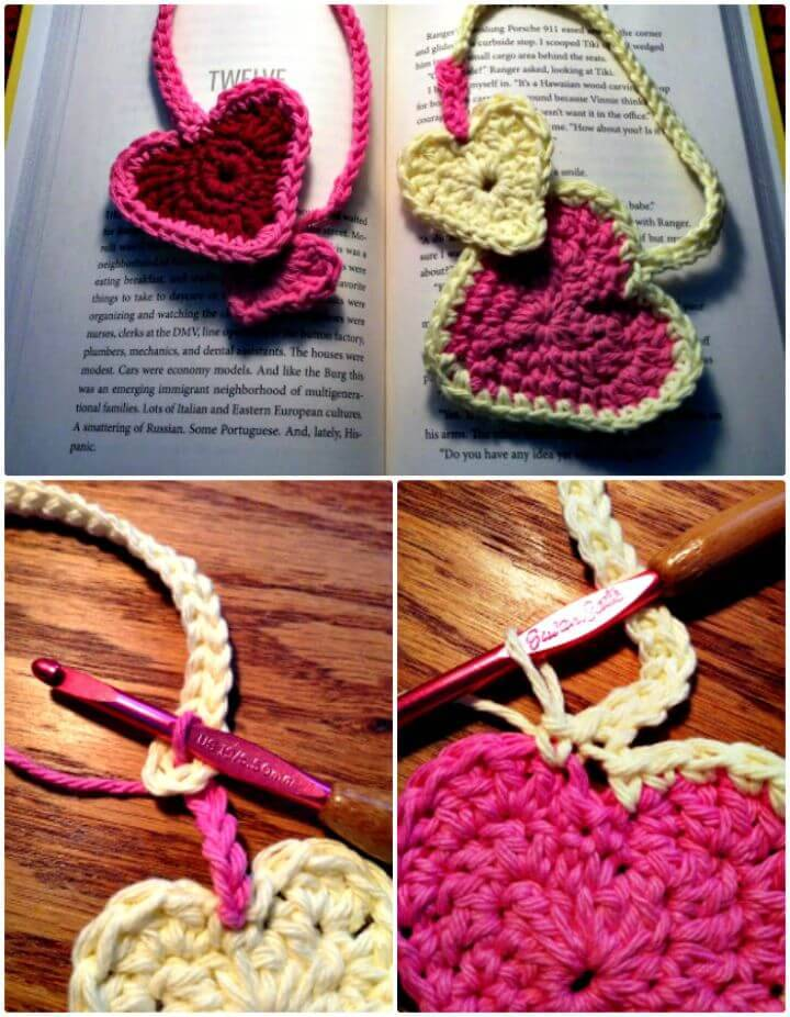 Crochet Heart To Heart Bookmark With Pattern - Free Valentine Pattern