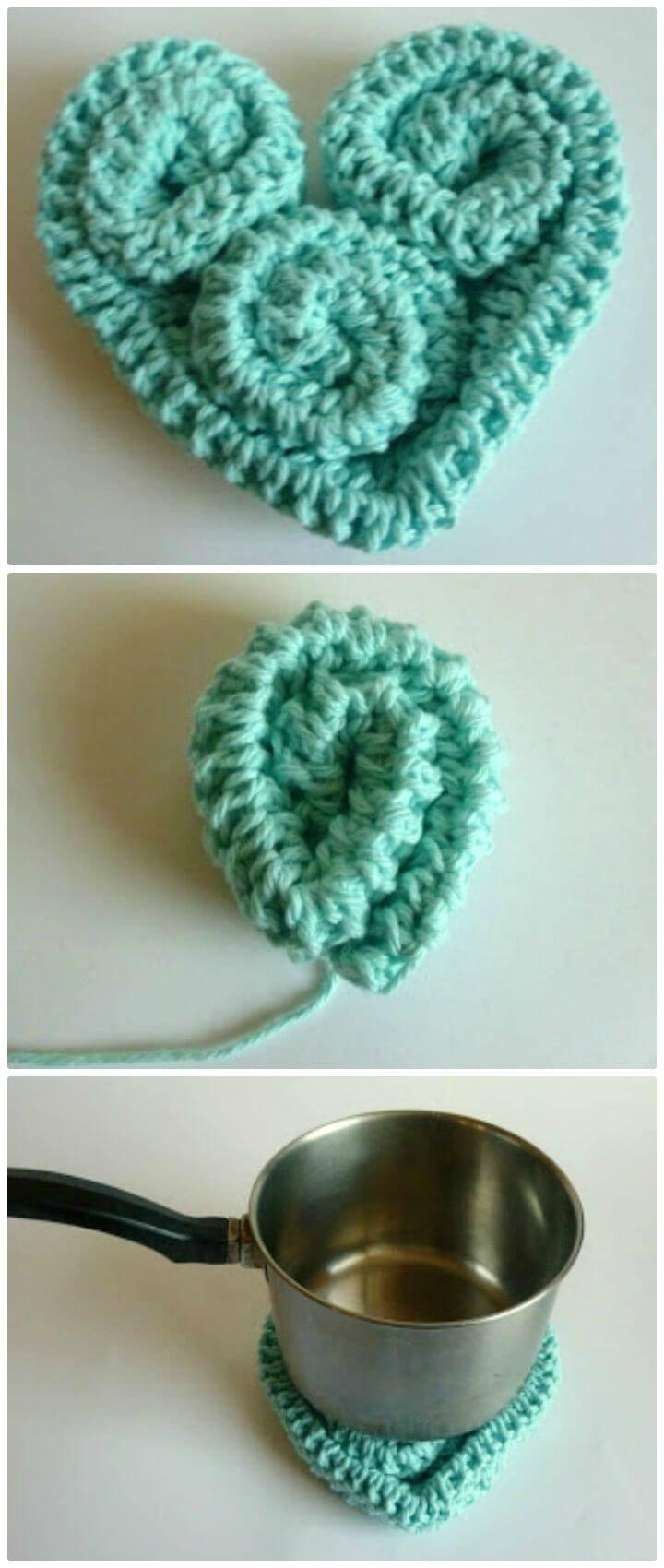 Free Crochet Heart Trivet Potholder Pattern