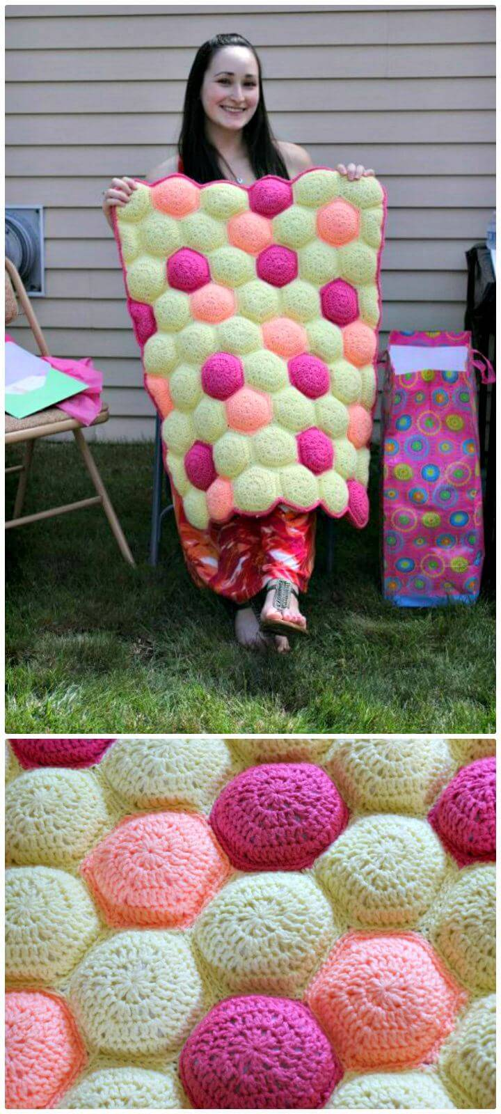 Einzigartige häkeln Hexa-Puff Babydecke - kostenlose Muster