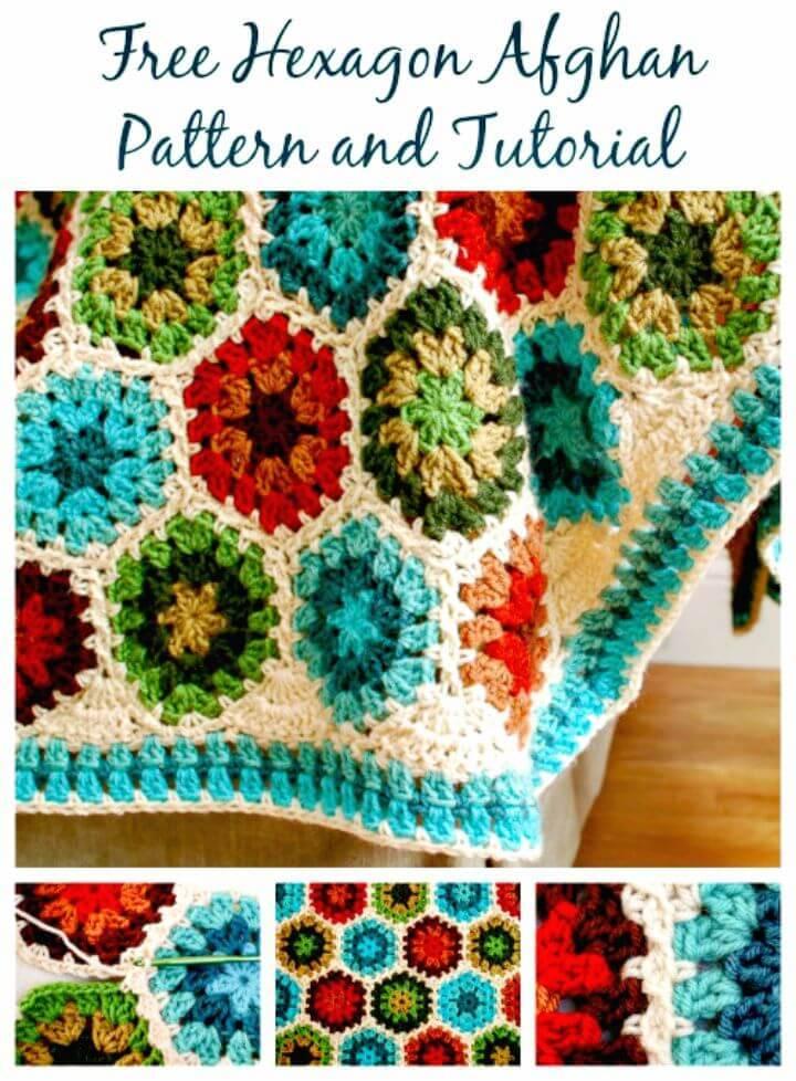 Häkeln Hexagon Afghan Blanket Pattern und Tutorial